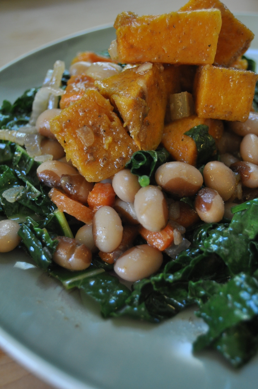 roasted butternut squash, sauteed kale, beans