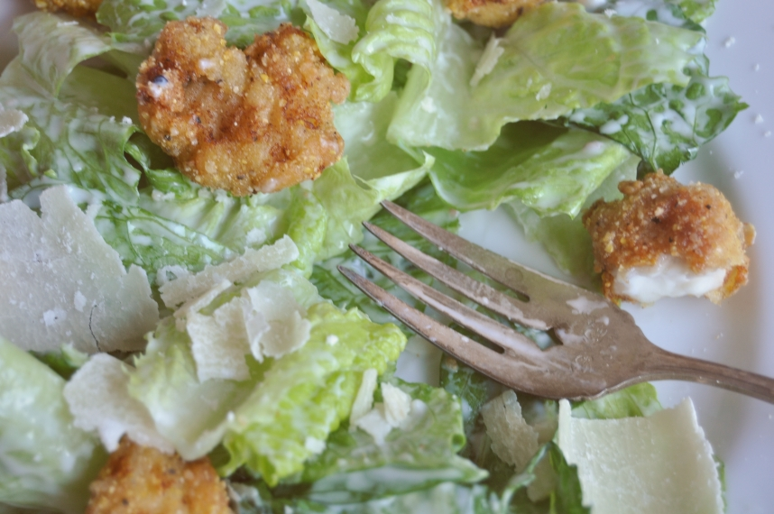 caesar salad with fork