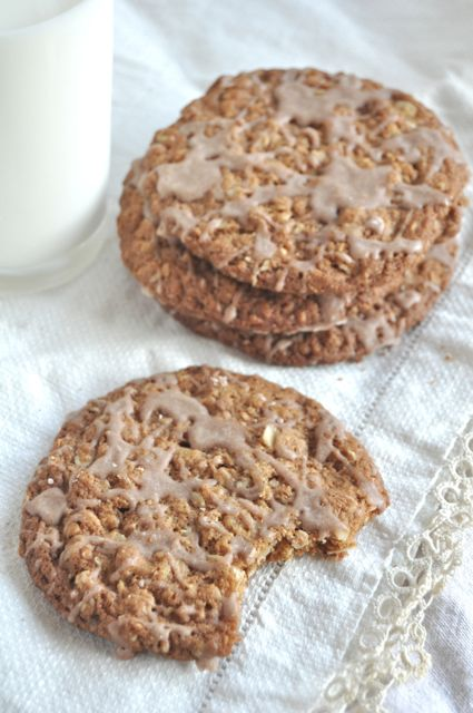 iced oatmeal cookies and milk