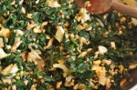 spinach, almonds, chopped egg
