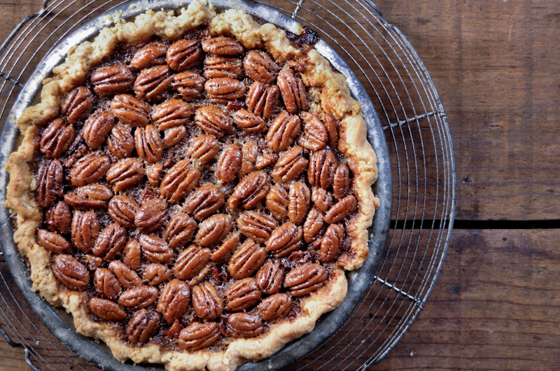 Bacon And Cane Syrup Pecan Pie Recipe — Dishmaps